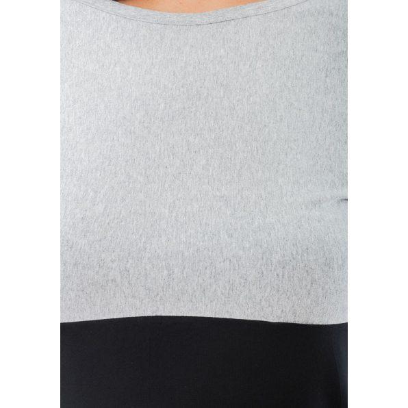 Hosszú ujjú melírszürke-fekete-csíkos mintás lezser tunika