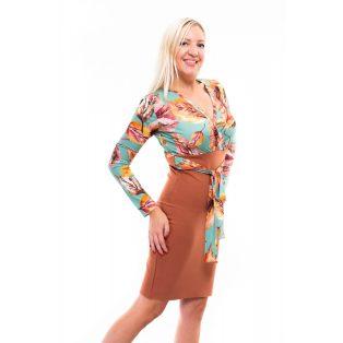 őszi alkalmi ruha, átlapolt dekoltázsú ruha, magas derekú szoknya, rucy fashion őszi ruha