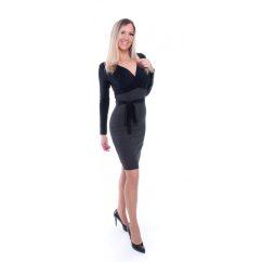 Rucy Fashion fekete alapon virágmintás átlapolt dekoltázsú kötős, szűk fazonú ruha mustár szoknyával