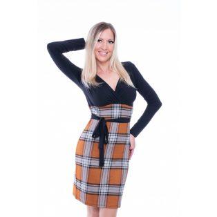 Rucy Fashion fekete alapon átlapolt kötős ruha állatmintás szoknyával
