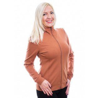 Rucy Fashion fahéj színű cipzáros felső, hosszú ujjú, sportos viselet