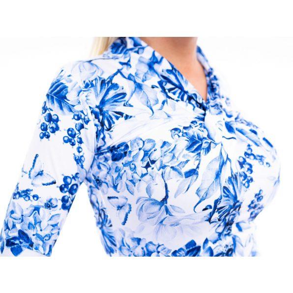 csavart dekoltázsú felső, csavart nyakú felső, kék-fehér virágmintás felső