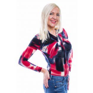 Rucy Fashion pirosas-feketés absztrakt mintás csavart felső, hosszú ujjú szűk fazon