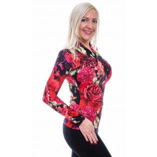 Rucy Fashion piros virág mintás csavart felső, hosszú ujjú szűk fazon