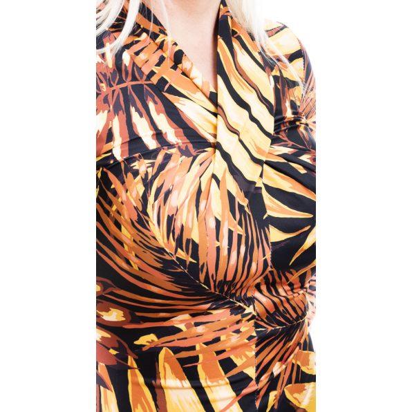 Rucy Fashion mustár leveles csavart felső, hosszú ujjú szűk fazon