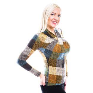 Rucy Fashion kockás csavart felső, őszies színekkel, hosszú ujjú, szűk fazon