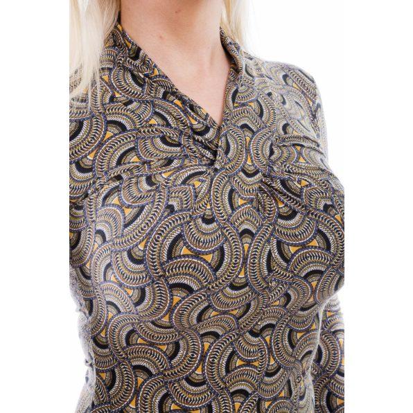 Rucy Fashion absztrakt mustáros-feketés-kékes színű csavart hosszú ujjú felső