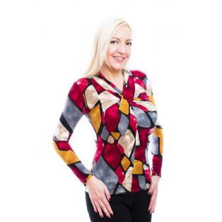Rucy Fashion őszi retró mintás csavart hosszú ujjú, szűk fazonú felső