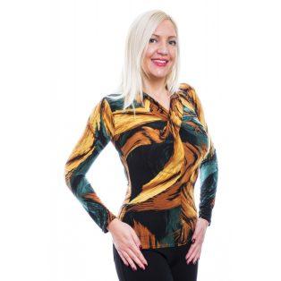 Rucy Fashion zöldes-mustáros mintás csavart dekoltázsú, hosszú ujjú, szűk fazonú felső