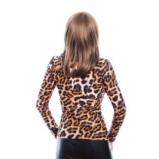 Rucy Fashion állatmintás csavart dekoltázsú, hosszú ujjú, szűk fazonú, női felső