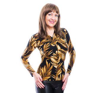 Rucy Fashion fekete alapon leveles csavart dekoltázsú, hosszú ujjú, női, szűk fazonú felső