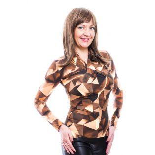 Rucy Fashion barnás árnyalatú absztrakt csavart dekoltázsú, hosszú ujjú, női, szűk fazonú felső