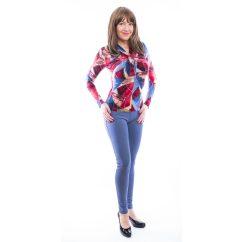 Rucy Fashion pirosas-kékes-drappos absztrakt mintás csavart dekoltázsú, hosszú ujjú felső