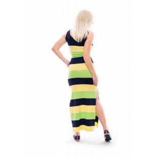 lime csíkos ruha, kiwizöld színű ruha, nyári trikóruha, maxi ruha élénk színben, feltűnő maxi ruha