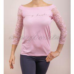 Rózsaszínű ejtett vállú felső, tavaszi alkalmi felső, rózsaszín csipke felső