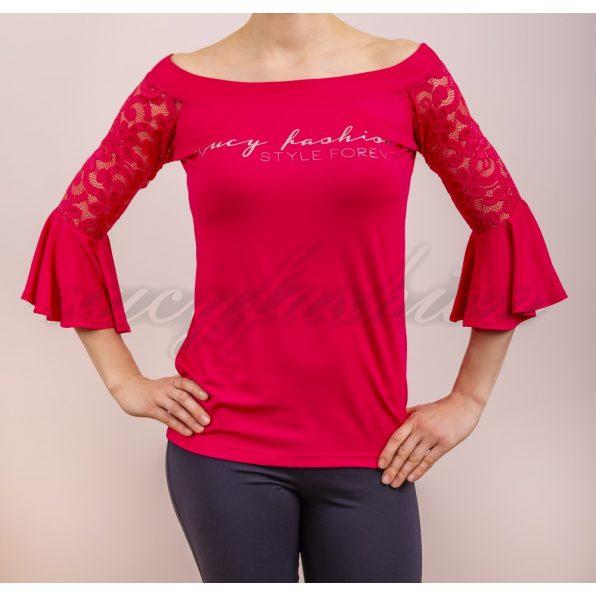 pink színű csipke felső, málna színű felső, tavaszi alkalmi felső, csónak nyakú felső