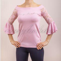 rózsaszínű csipke felső, csipke ujjú felső, harang ujjú felső, tavaszi alklami felső, rucy fashion t