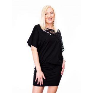 Csipkevállú fekete rövidujjú ruha/tunika