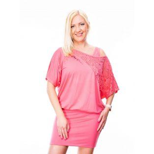 rózsaszín csipkevállú ruha, csipke díszítésű ruha, csipkés tunika, tavaszi alkalmi ruha