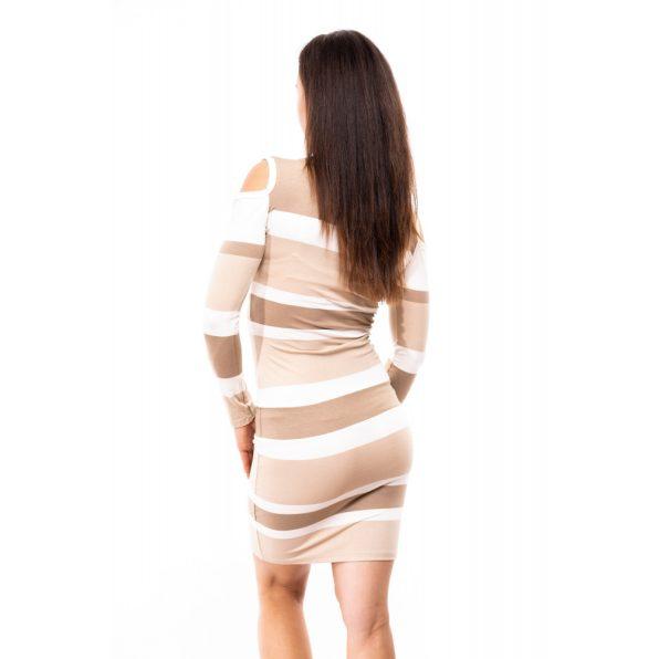 csíkos ruha, lyukas vállú ruha, V nyakú ruha, bézs ruha, belebújós ruha