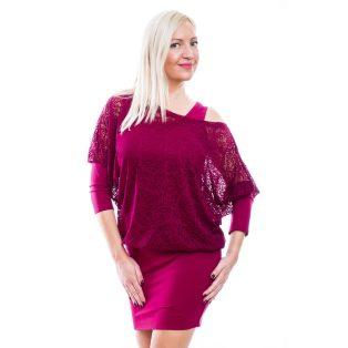 Rucy Fashion bordó csipkés denevérujjú tunika vagy ruha trikóval és dupla szoknyával