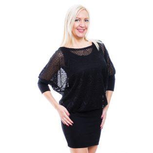 Rucy Fashion fekete csipkés tunika trikóval, háromnegyedes ujjú denevér ruha, dupla szoknyával