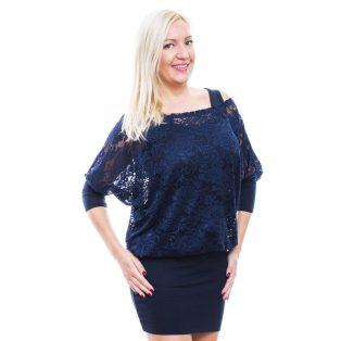 Rucy Fashion sötétkék csipkés tunika trikóval, háromnegyedes ujjú denevér fazonú ruha