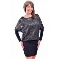 Rucy Fashion fekete-ezüst csipkés tunika trikóval