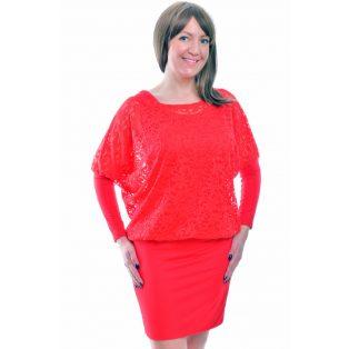 Rucy Fashion piros csipkés tunika trikóval