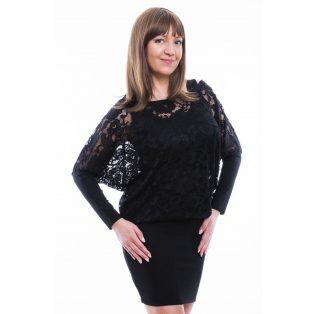 Rucy Fashion fekete, hosszú ujjú csipkés tunika trikóval