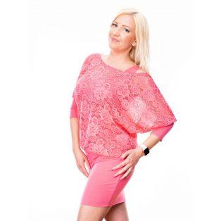 csipke tunika, rózsaszín csipke ruha, tavaszi alkalmi ruha, kismama alkalmi ruha, rózsaszín csipke