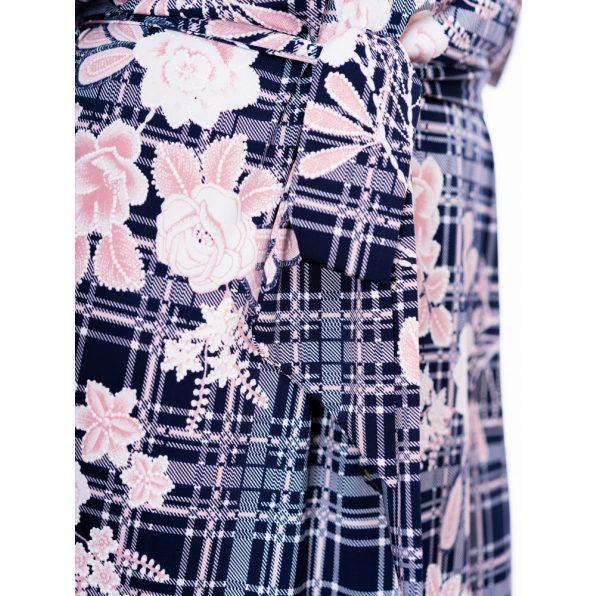 kockás-virágos ruha, húzott vállú derékkötős ruha, húzott vállú tavaszi ruha, tavaszi alkalmi ruha