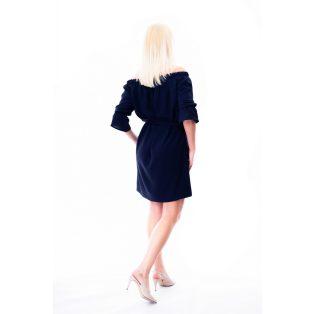 sötékékalklami ruha, sötétkék húzott vállú ruha, tavaszi alklami ruha,kismama alkalmi ruha