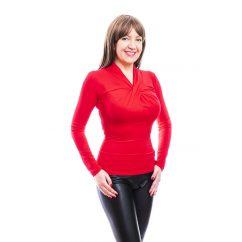 Rucy Fashion piros csavart dekoltázsú, hosszú ujjú, szűk fazonú felső
