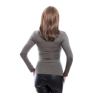 Rucy Fashion keki csavart dekoltázsú, hosszú ujjú, szűk fazonú felső
