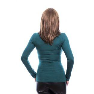 Rucy Fashion zöld csavart dekoltázsú, hosszú ujjú, szűk fazonú felső