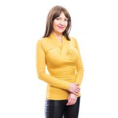 Rucy Fashion mustár csavart dekoltázsú, hosszú ujjú, szűk fazonú felső