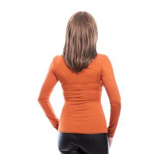 Rucy Fashion rozsda csavart dekoltázsú, hosszú ujjú, szűk fazonú felső