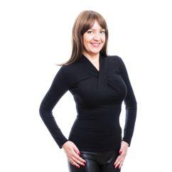 Rucy Fashion fekete csavart dekoltázsú, hosszú ujjú, szűk fazonú felső