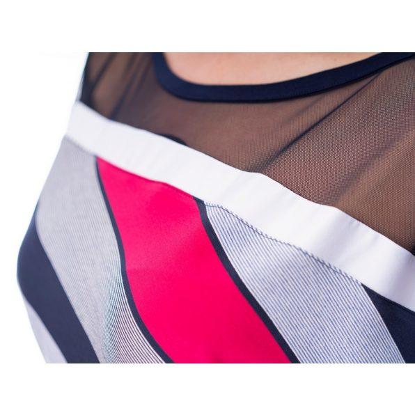 Ferdén csíkos denevér ujjú ruha/tunika (pink-sötétkék) hálós