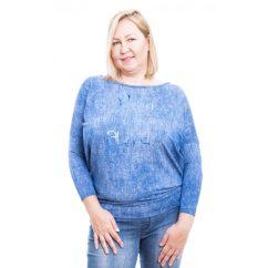 Rucy Fashion farmer hatású lezser felső pezsgő felirattal, hosszú ujjú denevér tunika