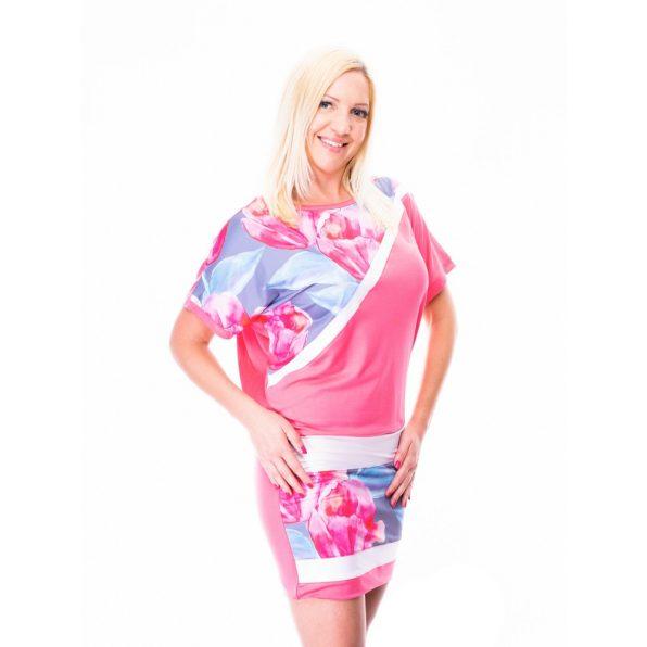 tulipánmintás ruha, tulipános tunika, rózsaszín virágos tunika, ferdén mintás tunika,