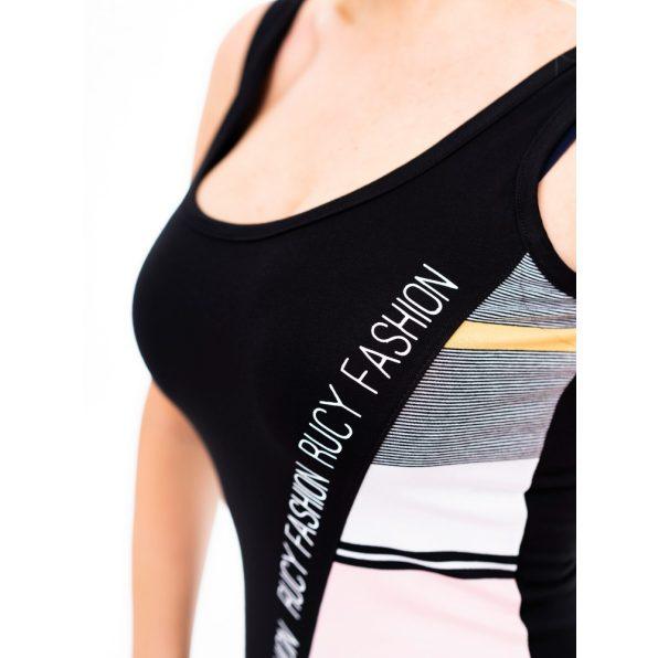 púder csíkkos trikó ruha, rucy fashion nyári ruha, ferdén mintás trikó ruha, karcsúsított trikó ruha