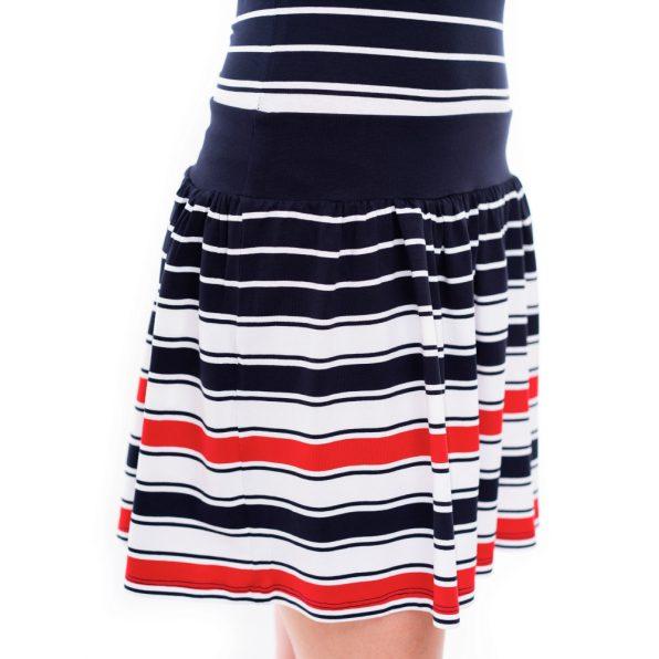 fodros szoknyás nyári ruha, rakott szoknyás matróz színű ruha, kényelmes nyári ruha, rucy fahsion