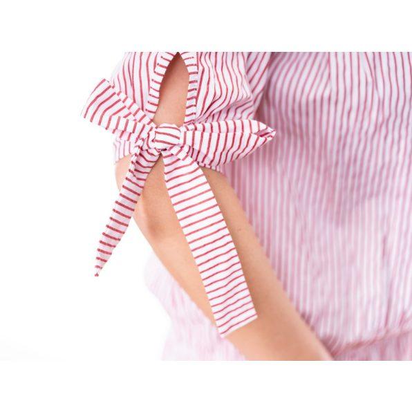 Gyűrhető rózsaszín csíkos blúz