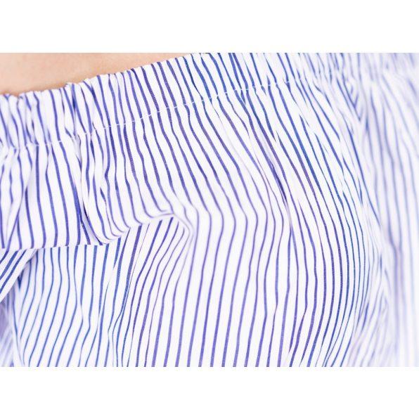 gyűrhető blúz, kék csíkos blúz, húzott vállú felső, tavaszi akalmi felső, pamutvászon blúz