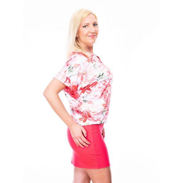 Pink virágmintás díszcsatos ruha / tunika