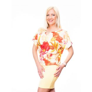 Sárga virágmintás díszcsatos ruha / tunika