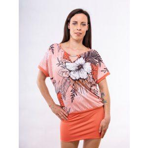 Korall virágmintás díszcsatos ruha / tunika