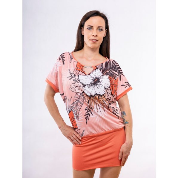 korall színű tunika, korall színű tropic mintás tunika, díszcsatos ruha, tavaszi tropic mintás ruha
